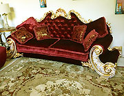 Red Velure & Gold Leaf Classic Unique Sofa