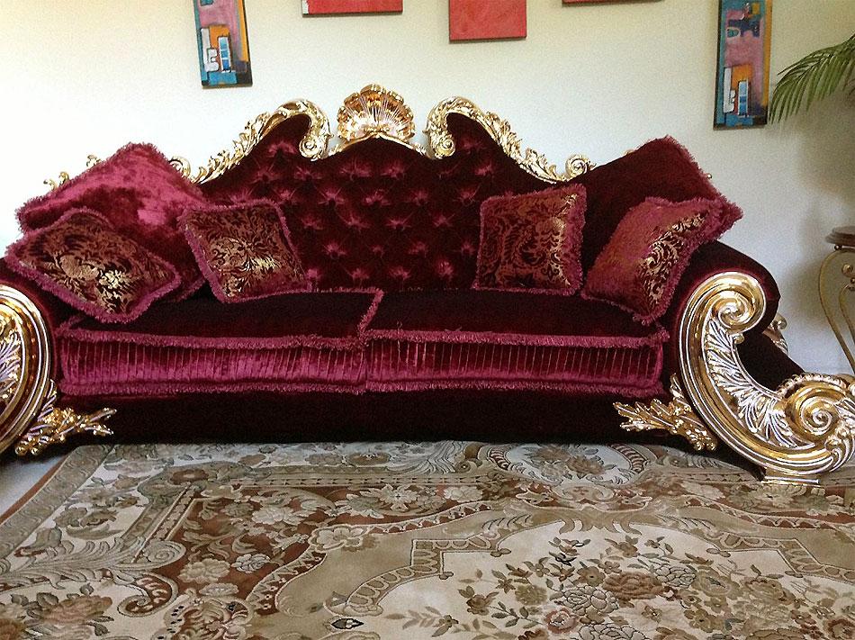 Red Velure Amp Gold Leaf Classic Unique Sofa Traditional Sofas