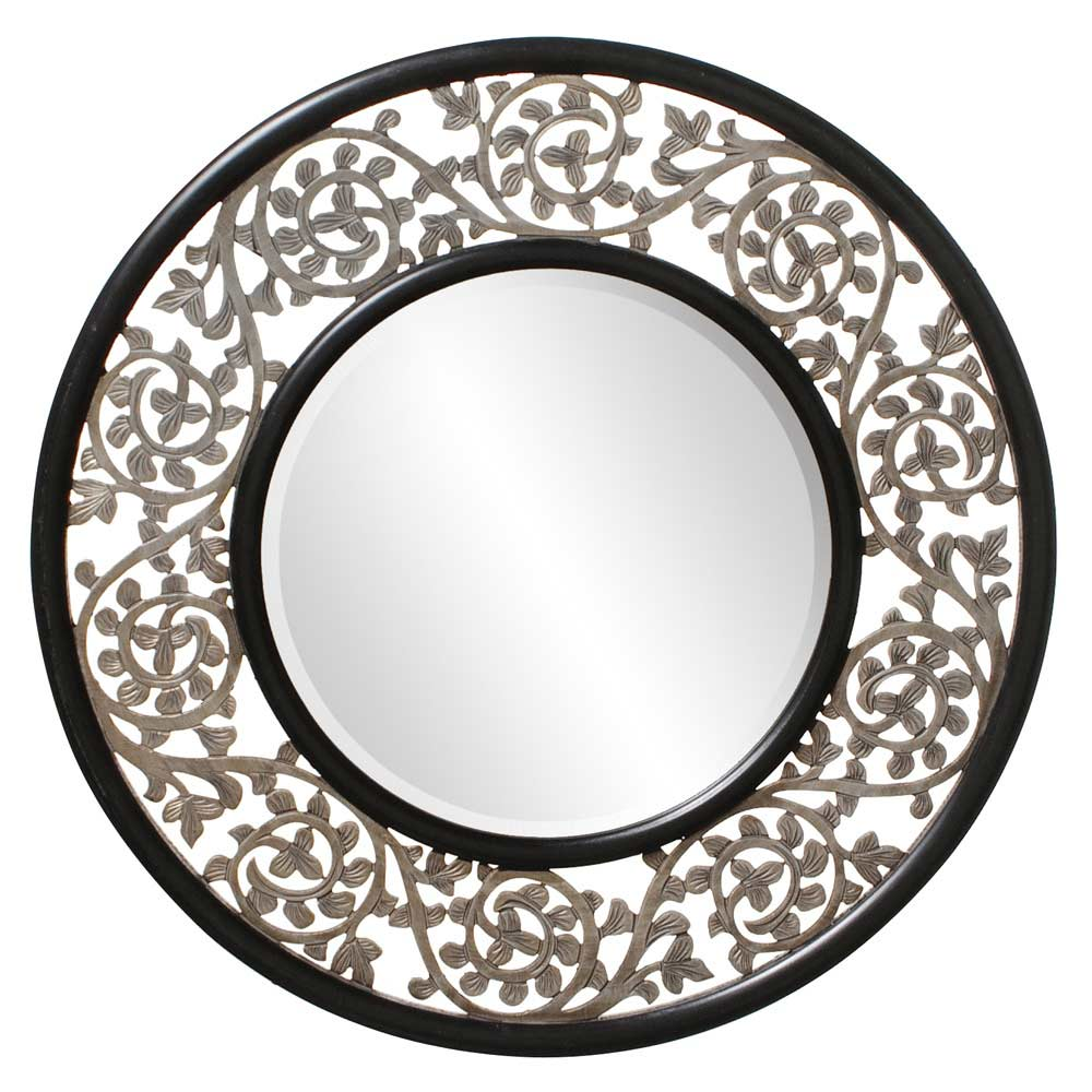 Round ornate designer mirror hre 095 accent mirrors for Round mirror