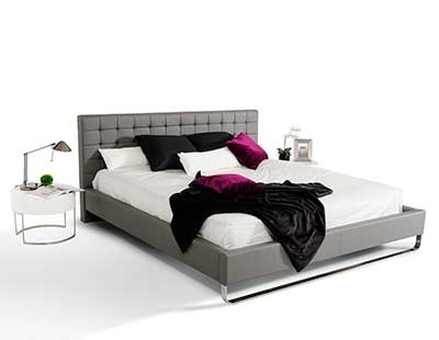 Modern Grey Leatherette Bed VG 239