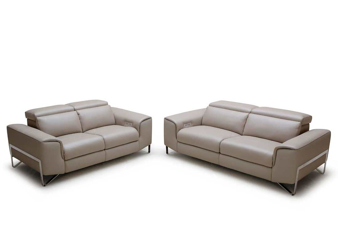Modern reclining sofa set vg881 leather sofas for Modern loveseat