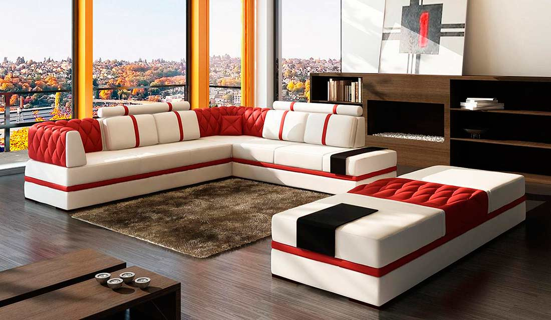 Modern Red Sectional Sofa Vg012 Leather Sectionals