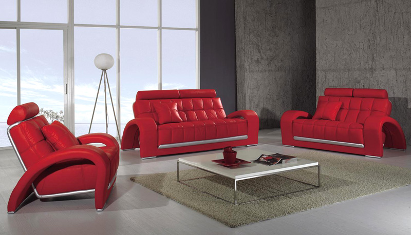 Red Techno Leather Sofas