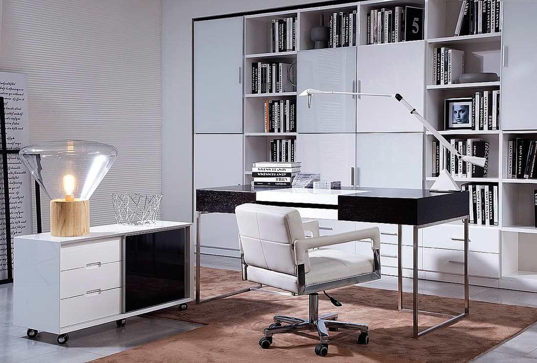 Black Oak Office Desk With Side Cabinet Vg101