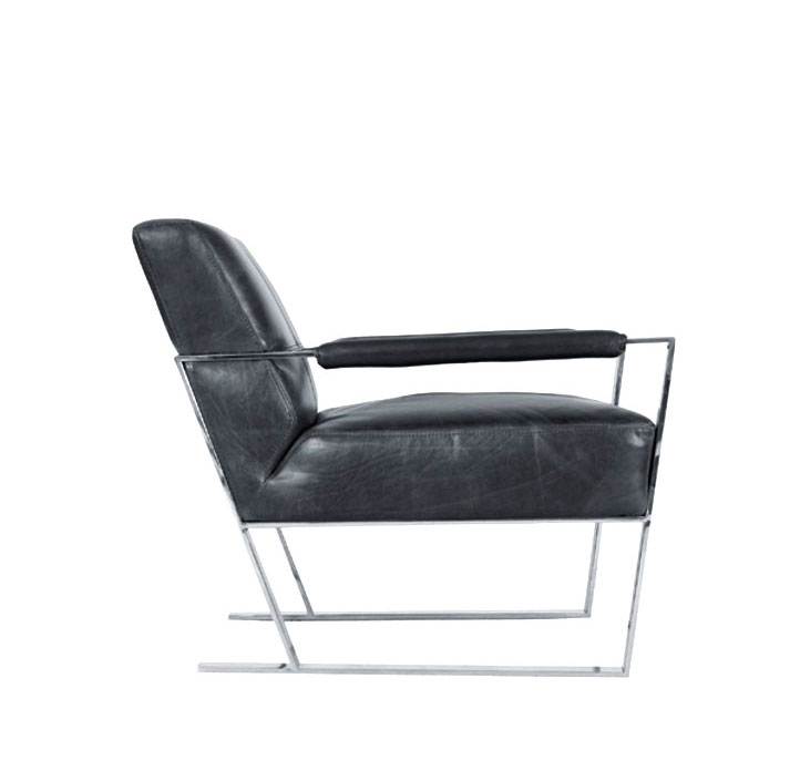 Charcoal Leather Lounge Chair By Moroni Accent Seating