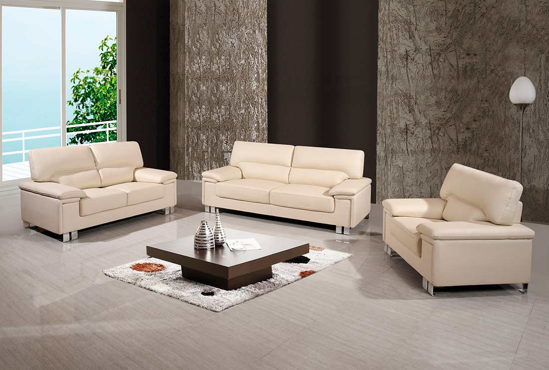 modern beige genuine leather sofa gu399