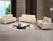 Modern Beige Genuine Leather Sofa Joe399