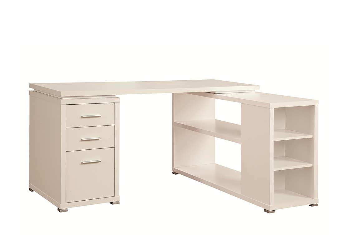 White L Shape Desk With Silver Hardware Co 516
