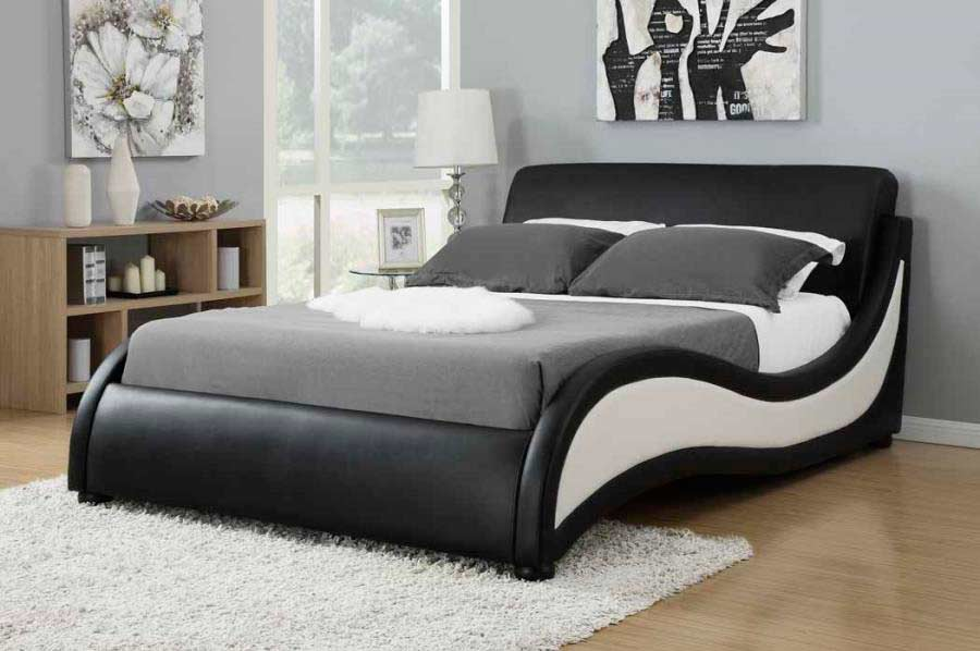 Modern Black And White Upholstered Bed Co 170 Contemporary Bedroom