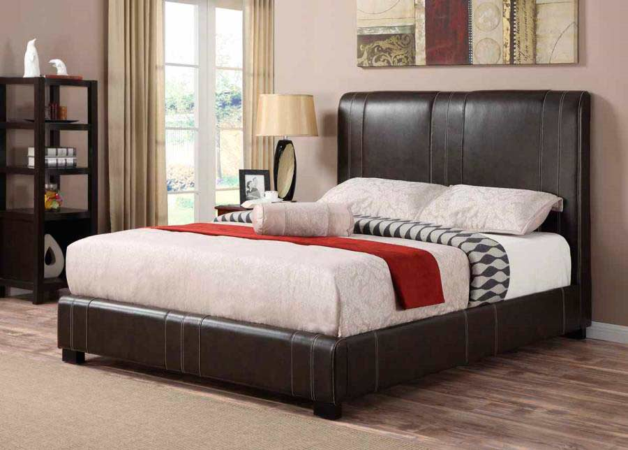 Dark Brown Leatherette Bed Co 123 Urban Transitional