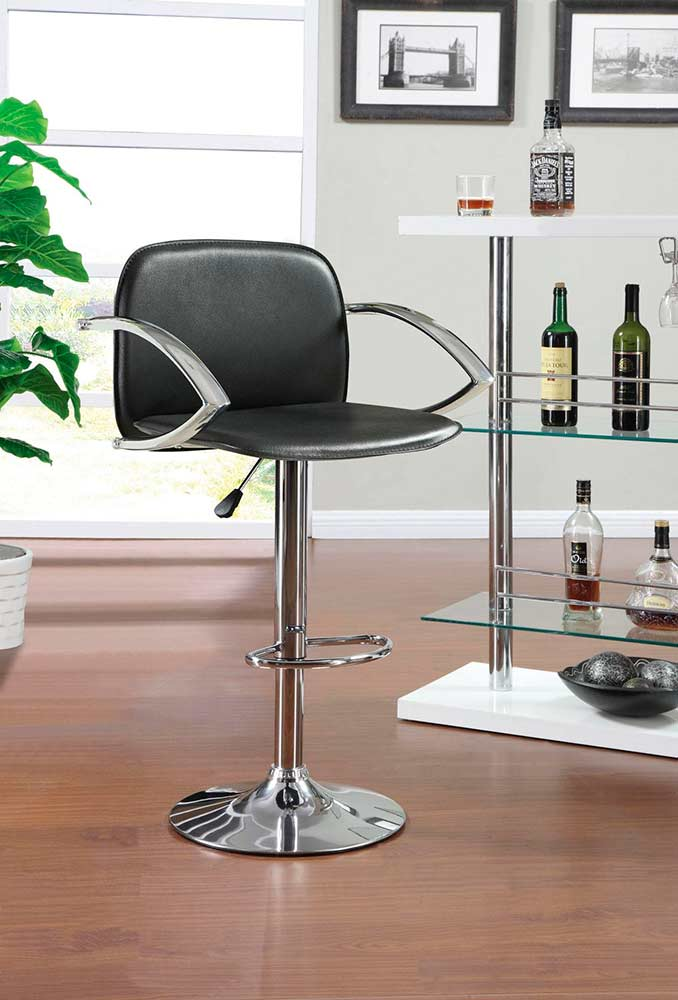 Black Leatherette Adjustable Bar Stool Co 293 Bar Stools