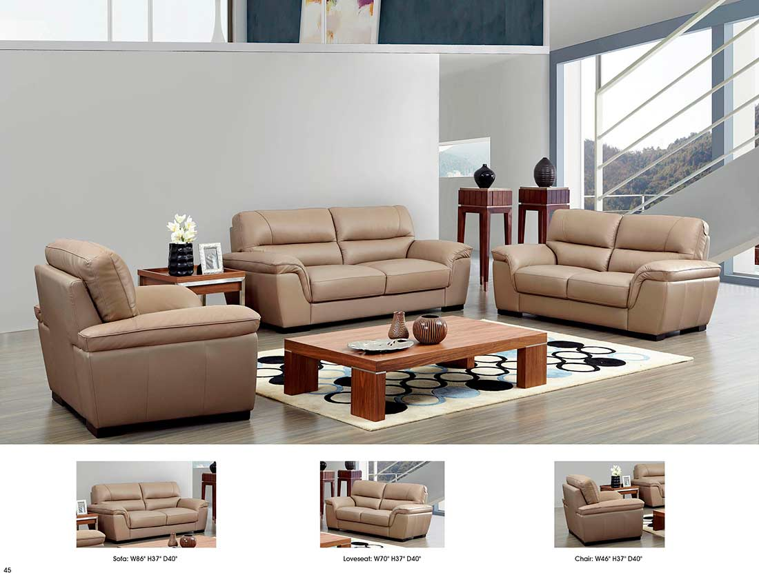 Beige Leather Sofa Ef052 Leather Sofas