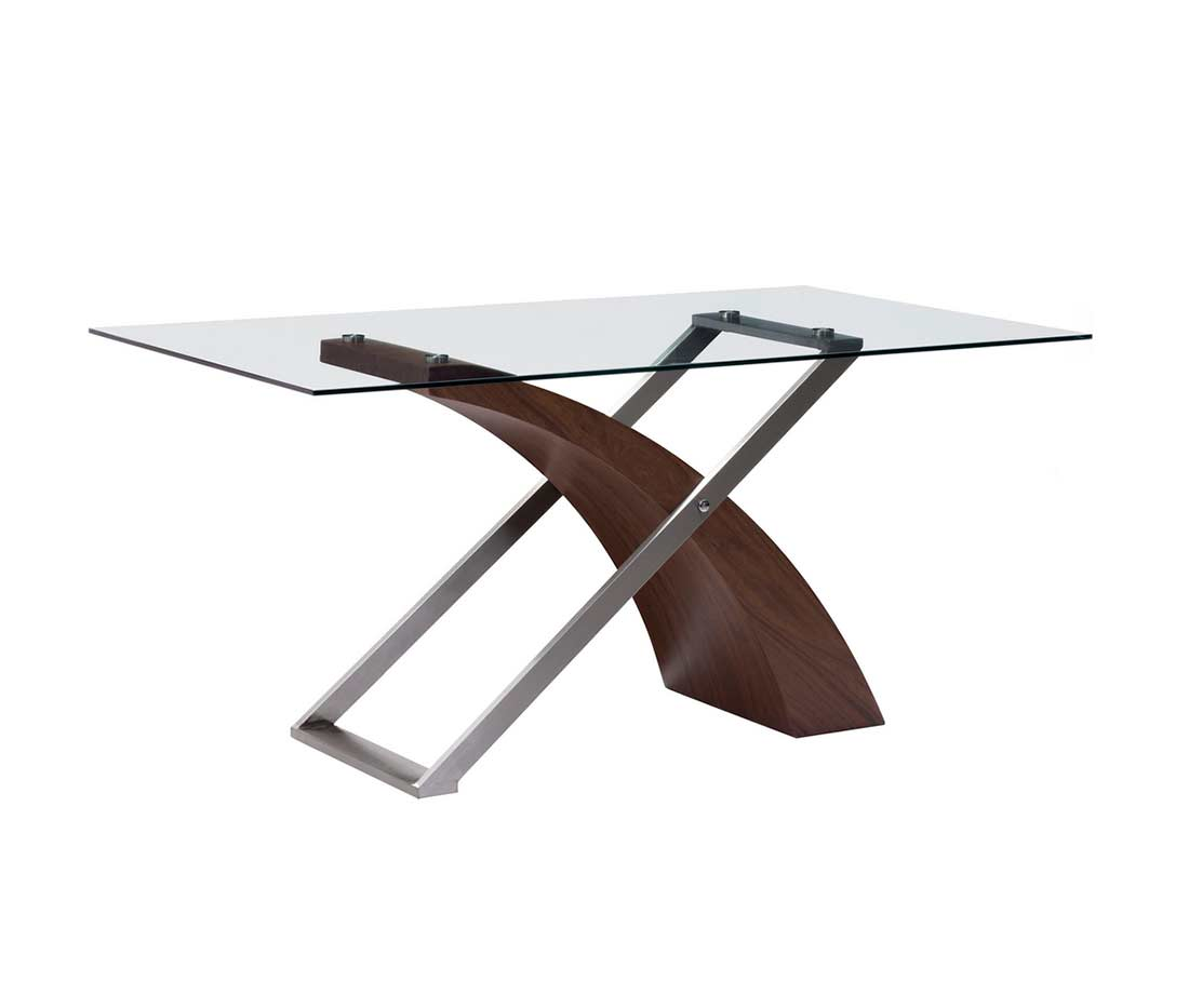 Glass dining table z861 modern dining for Contemporary glass dining table