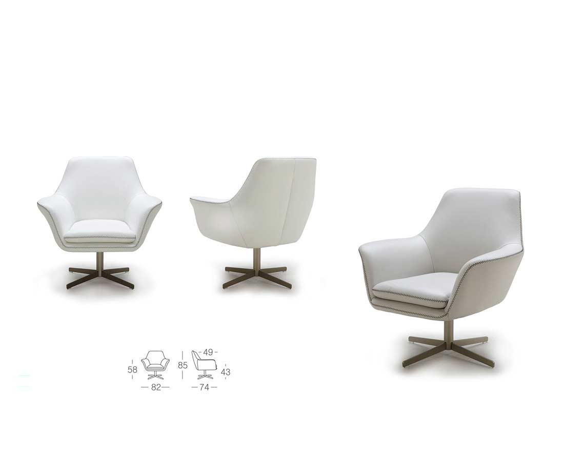 Modern Leather Swivel Chair K832 | Accent Seating