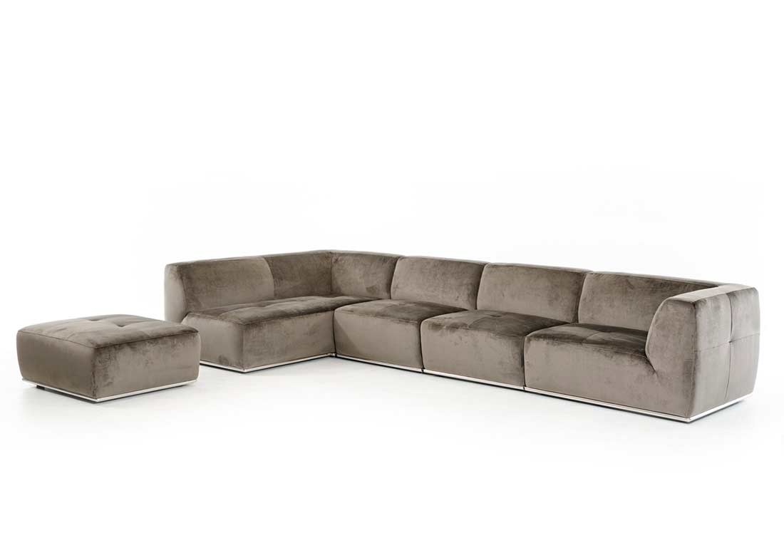 Contemporary Grey Fabric Sectional sofa VG389