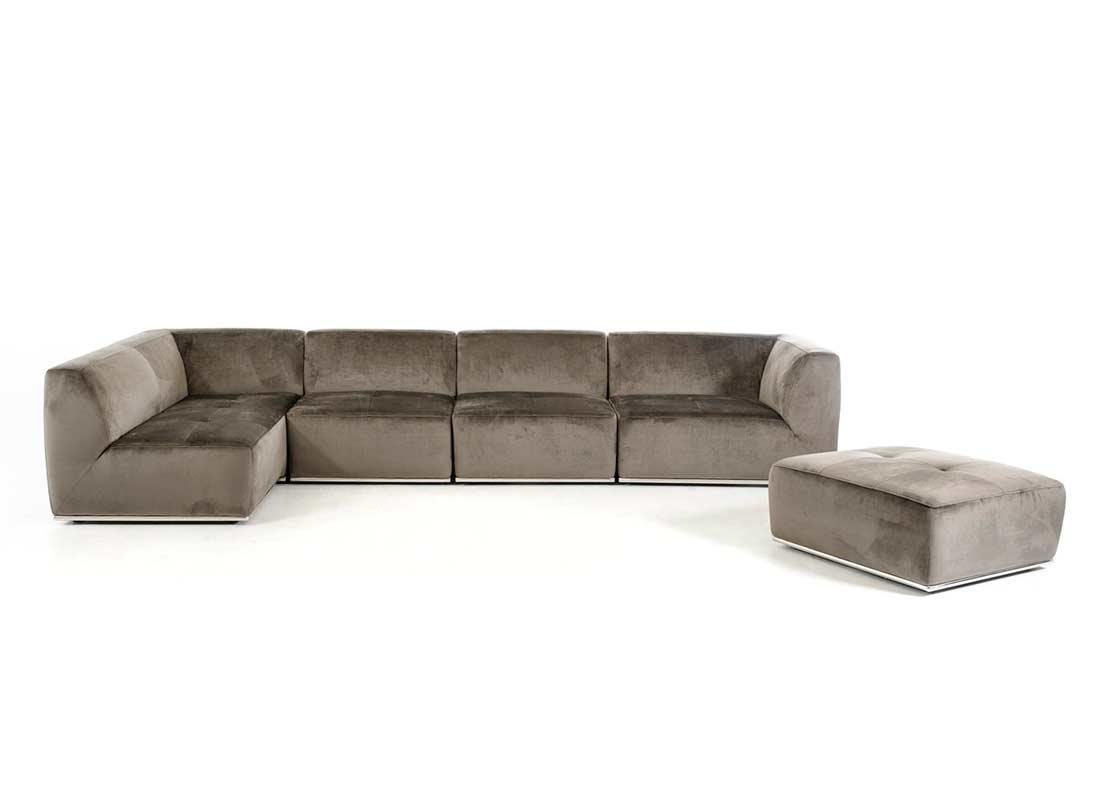 Contemporary Grey Fabric Sectional Sofa Vg389 Fabric