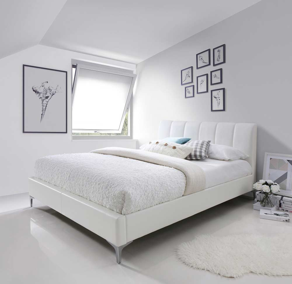 White Eco Pelle Bed NJ Leanna