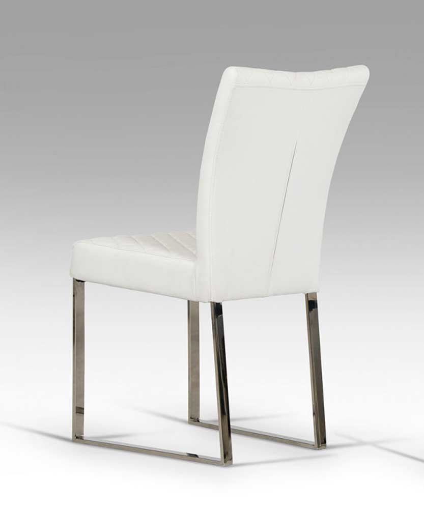 White eco leather chair vg838 modern chairs for Modern white leather dining chairs
