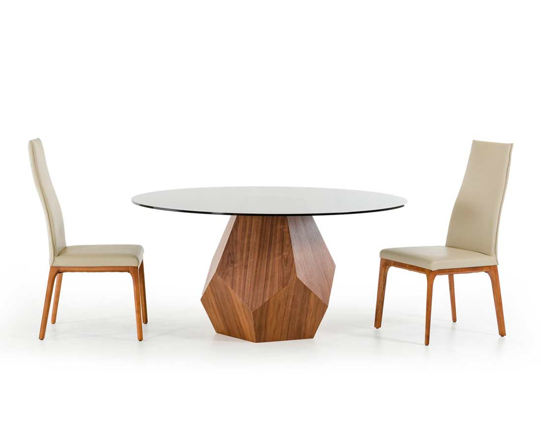 Walnut Dining Table With Smoked Glass Top Vg928 Modern