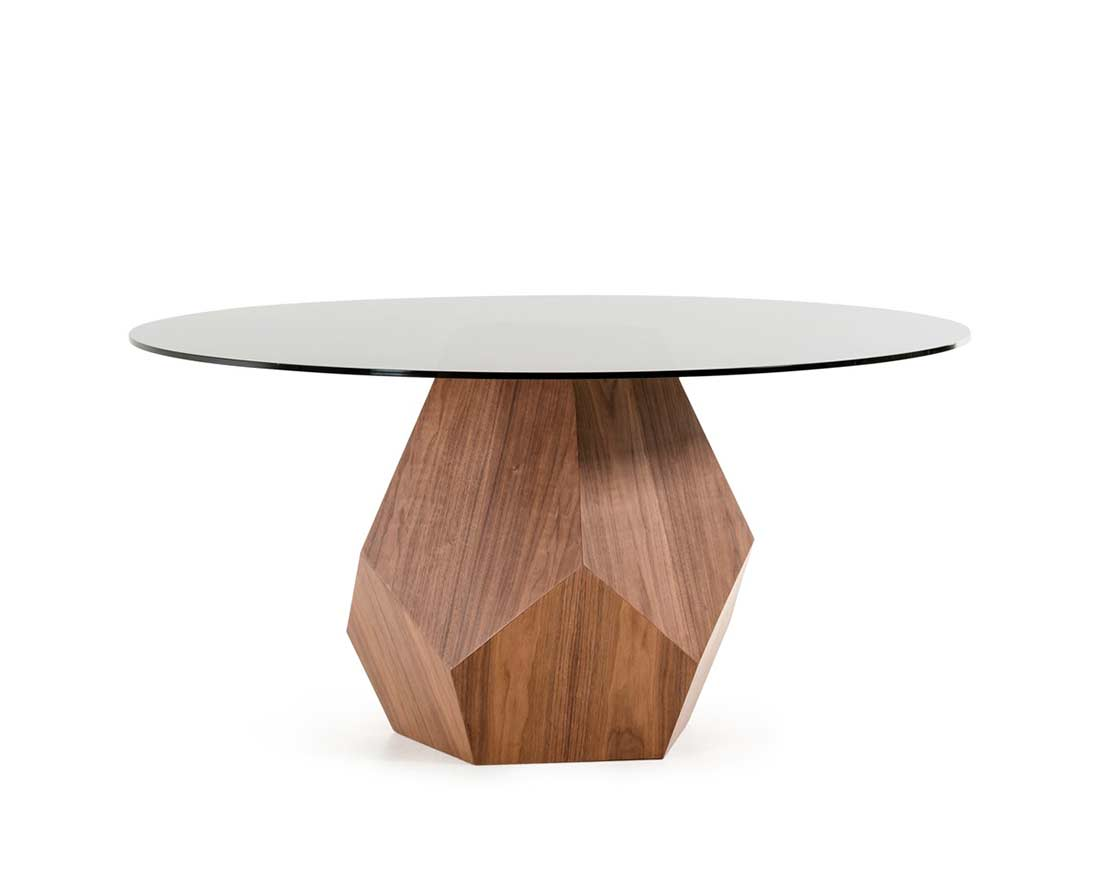 Walnut dining table with smoked glass top vg928 modern for Modern round dining table