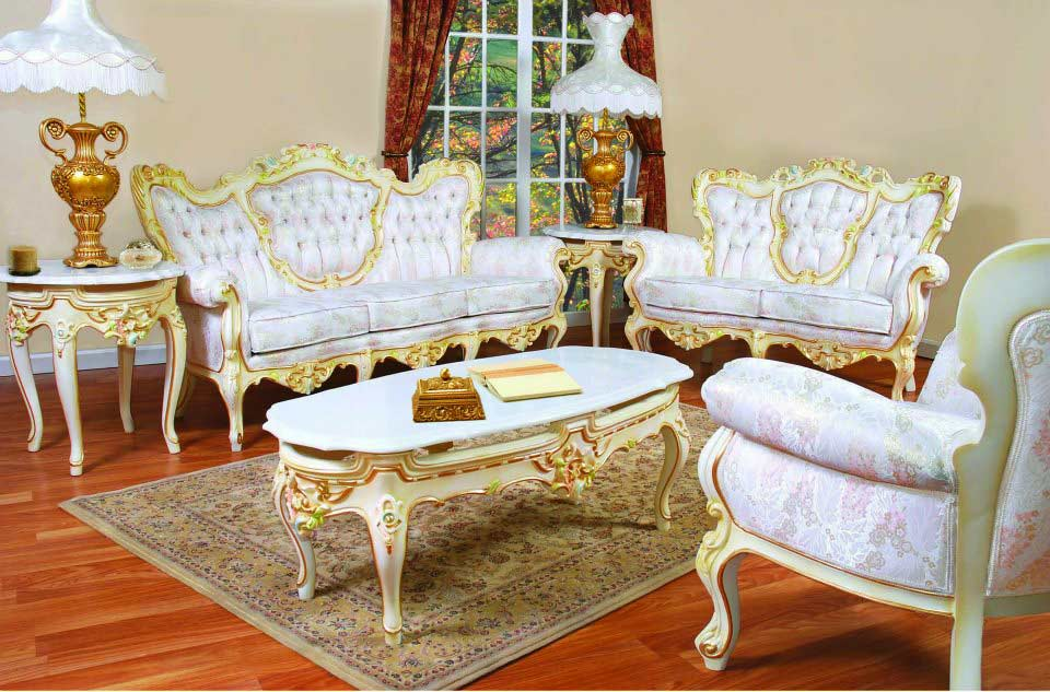 French Provincial Sofa 6331 W Gold Finish
