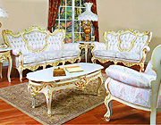 French Provincial Sofa 6331 W-Gold Finish