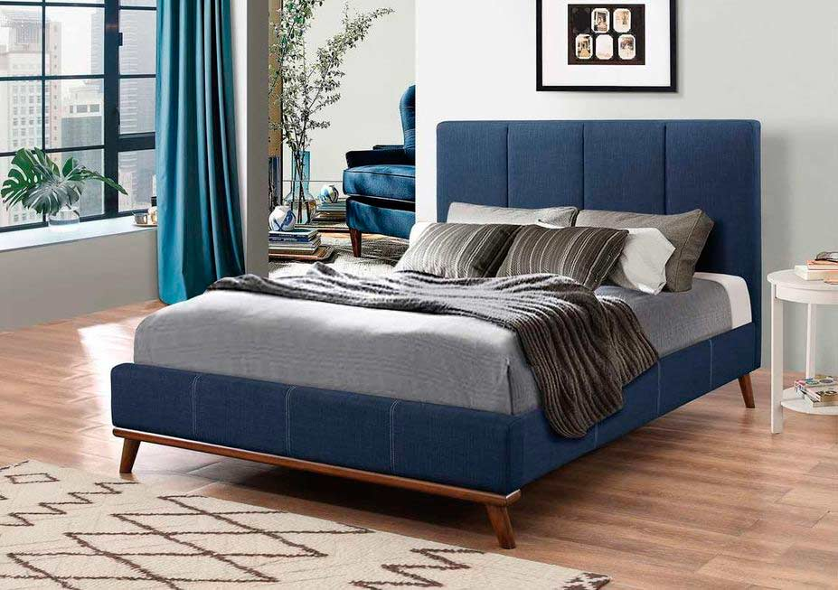 Blue Woven Fabric Bed CO626 Modern Bedroom Furniture