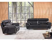 Modern Sofa Collection in Black Top Grain Leather
