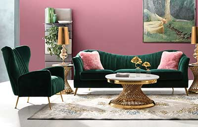 Emerald Green Velvet Sofa DS Athene