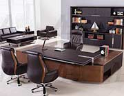 Dark Brown Faux Leather Desk AE 68