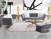 Gray fabric sofa set AE 805