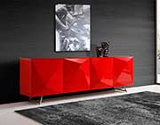 Modern Red Buffet Tempered Glass Top ST 439