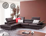 Coffee Leather Sectional Sofa MJ 61