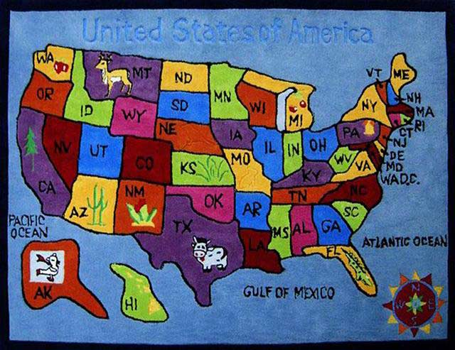 US Map Kids Rug Kids Rugs - Us and mexico map for kids