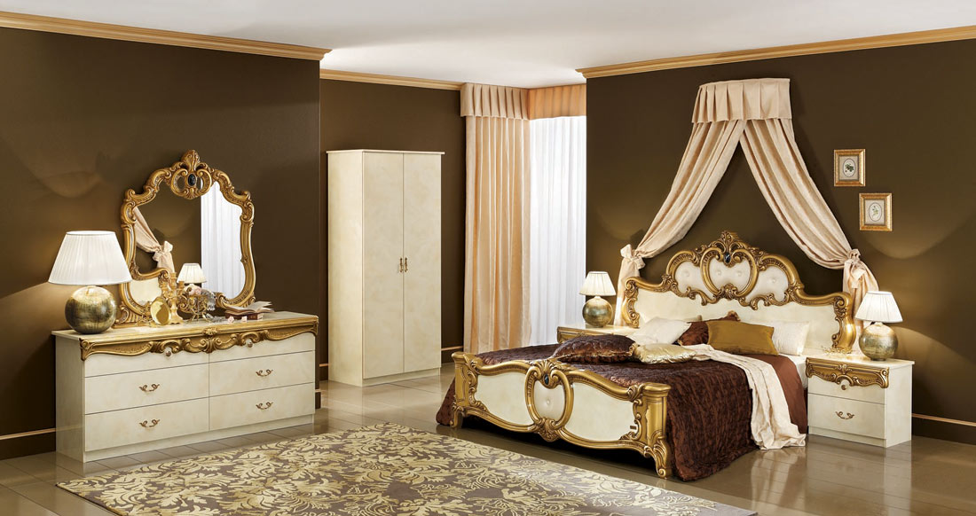Biaggio ivory gold bedroom collection classic bedroom - Gold bedroom ideas ...