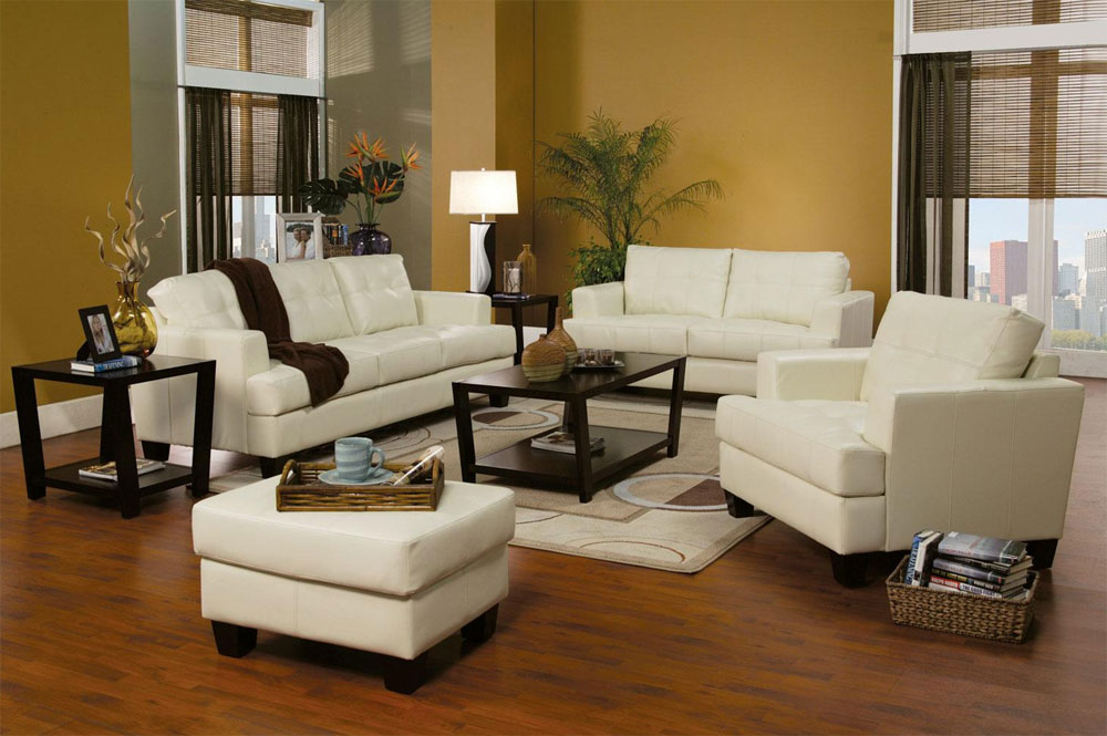 Cream Leather Sofa Set West