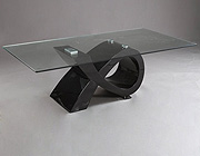 Biagio Lacquer base w/glass top Dining Table CR