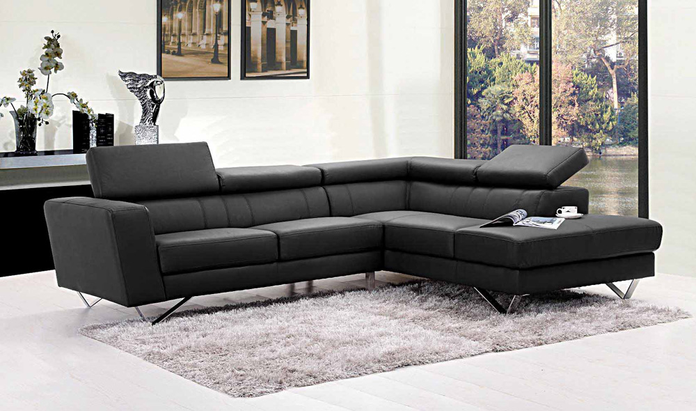 ... Liza Leather L Shaped Sectional Sofa ...