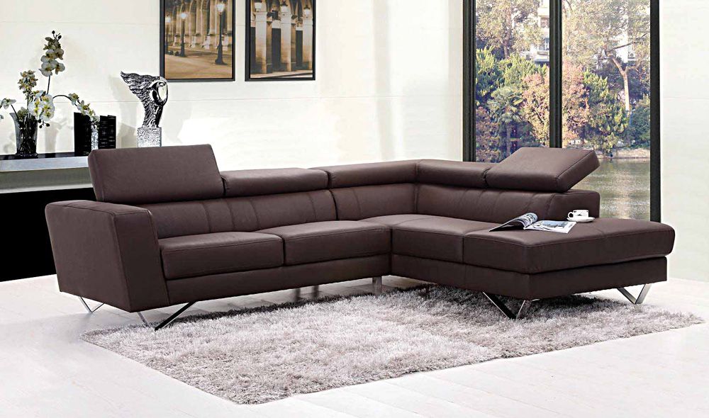 Liza Leather L-Shaped Sectional Sofa | Leather Sectionals