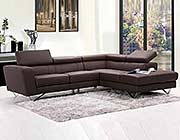Liza Leather L-Shaped Sectional Sofa