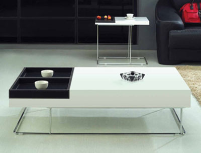 Lacquer coffee table with leather removable tray CR9500