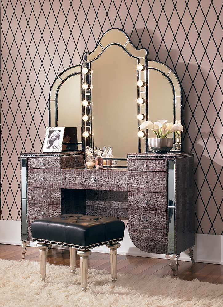 Vanity Set With Lights And Mirror : Hollywood Swank Vanity by AICO Aico Bedroom Furniture