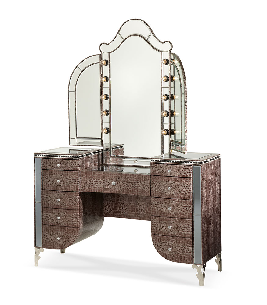 Hollywood Swank Upholstered Vanity And Mirror By Aico Aico