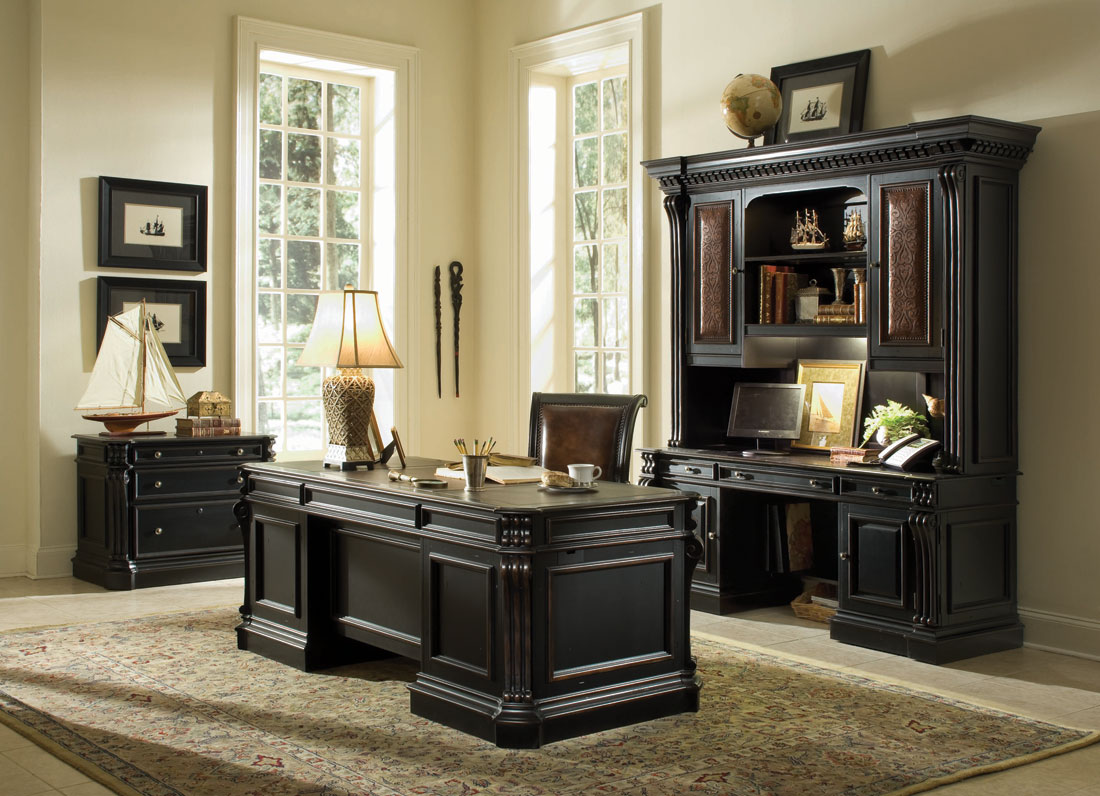Hooker Furniture Home Office hooker furniture home office rope moulded double pedestal desk with leather writing surface and 2 locking file drawers wayside furniture double pedestal Telluride Executive Desk With Wood Panels By Hooker Furniture