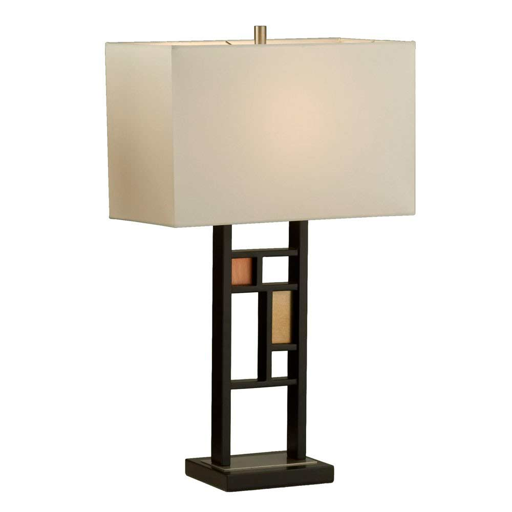 Contemporary Table Lamp With Cream Linen Nl086 Floor Amp Table