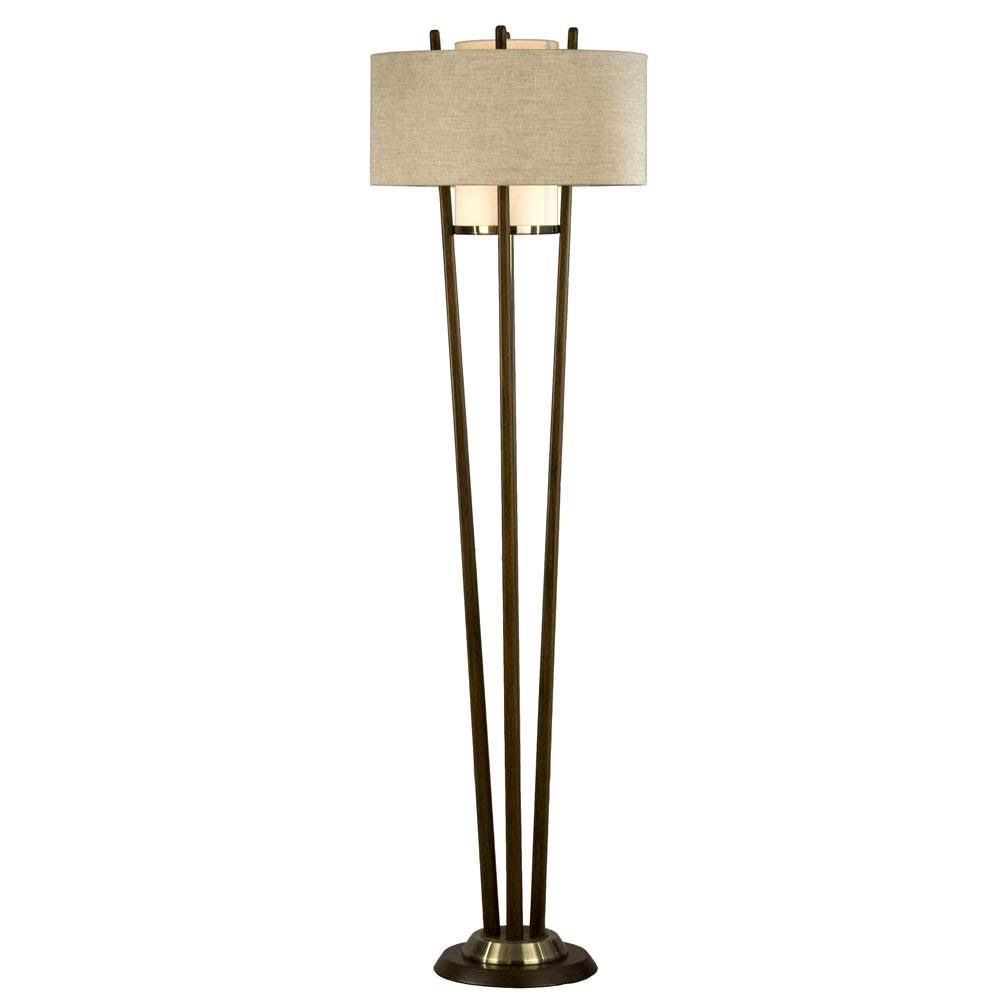 Pecan floor lamp nl178 floor table for Floor lamp with table