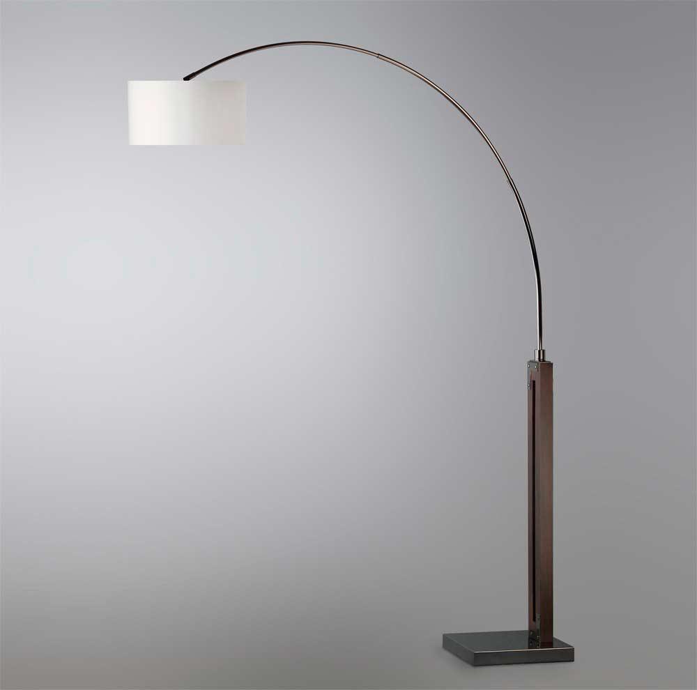 Pecan And Black Arc Lamp Nl464 Floor Amp Table