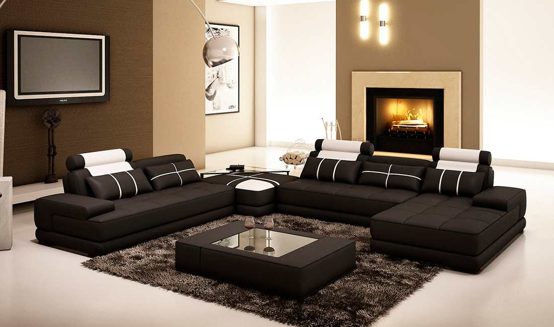 Black Leather Sectional sofa with Coffee Table VG005D Leather
