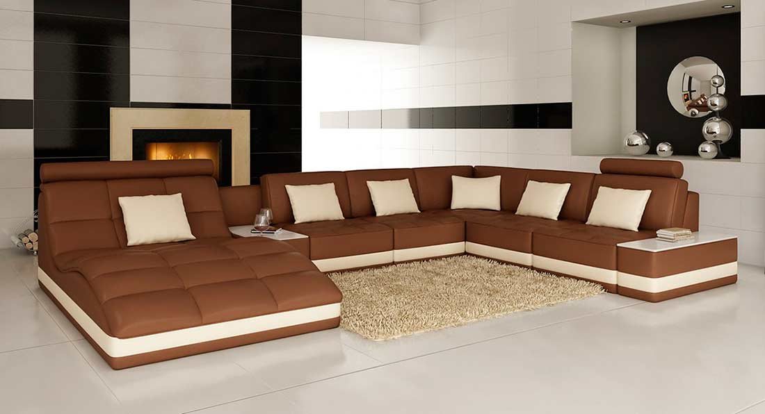 Brown leather sectional sofa with built in end table vg143 for Side table for sectional sofa