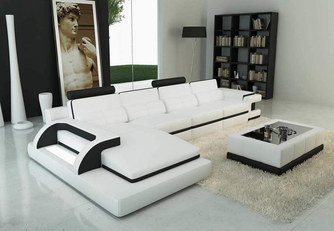 Modern White leather sectional sofa VG122C | Leather ...